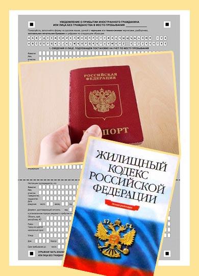Жилищный кодекс РФ, подача паспорта и бланк временной регистрации