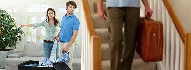 Сбор вещей и выселение мужа, мужчина идет по лестнице с чемоданом