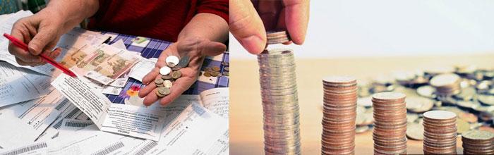 Монеты стопочками и арсчеты по платежам ЖКХ