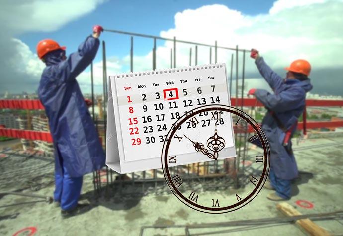 Строители на стройка, календарь и часы