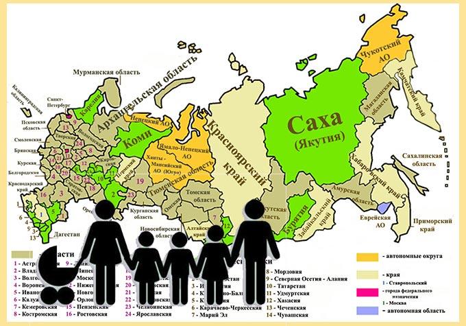 Регионы РФ и многодетная семья