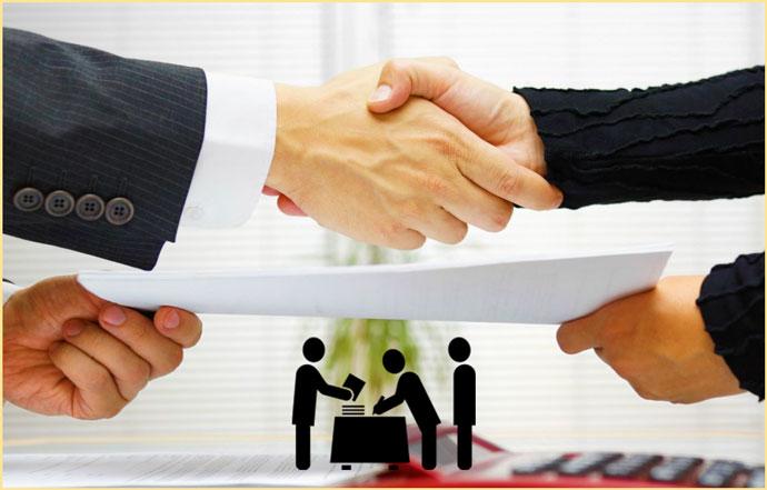 Рукопожатие и передача договора