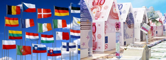Флаги стран, и домики из денег