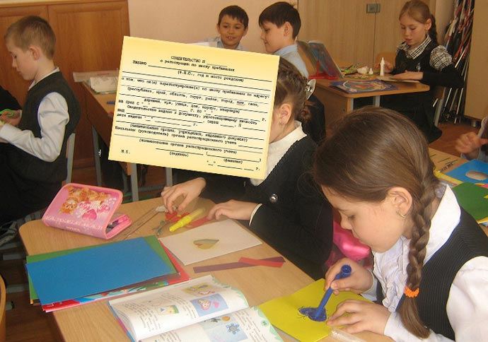Школьники в классе и прописка временная