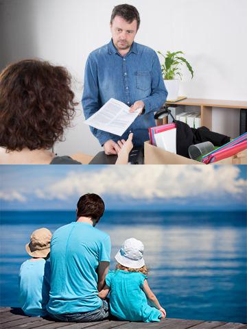 Увольнение и отец с детьми