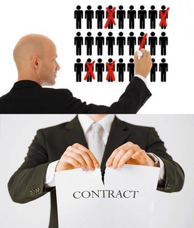 Сокращени шатта и разрыв контракта