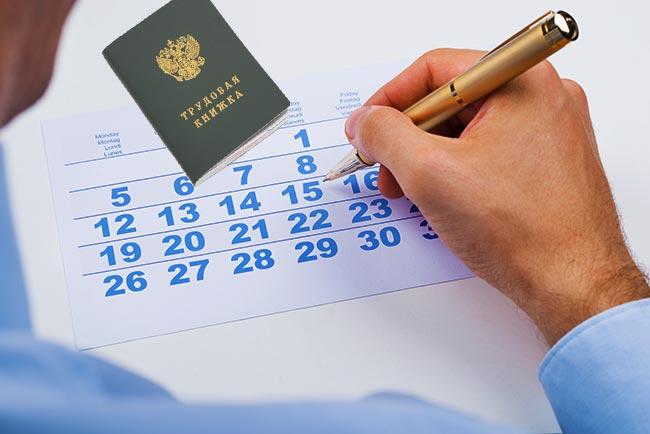 Подсчет дней в календаре и трудовая книжка