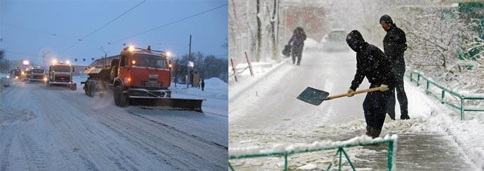 Борьба со снегом машинами и лопатами