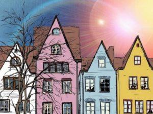 Прелестные домики разных цветов