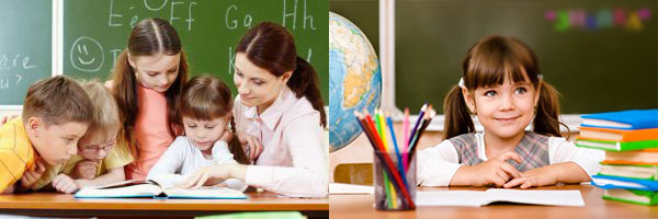 Дети в школе у доски и с учителем