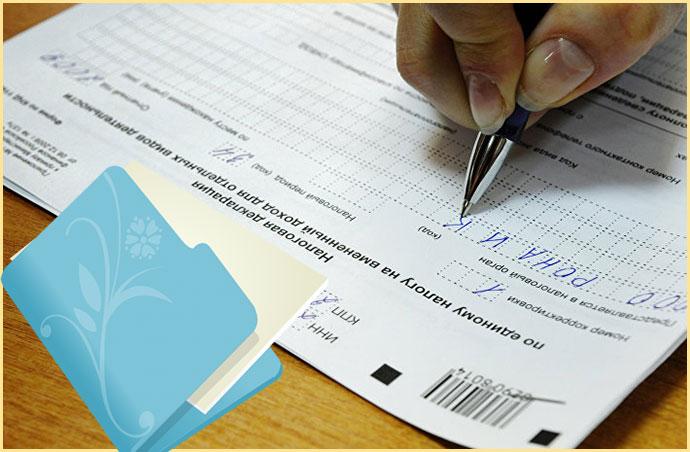 Папка с документами и заполнение налоговой декларации