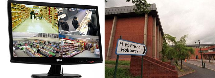 Монит с видеонаблюдением в магазине и улица