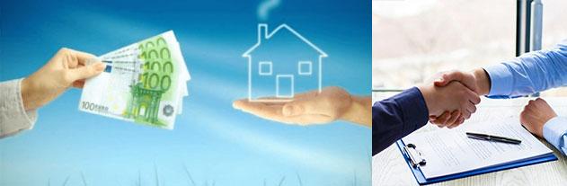 Обмен деньги на дом, рукопожатие и договор