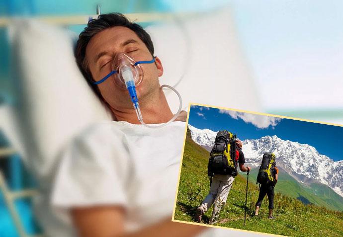 Человек в больнице и в отпуске в горах