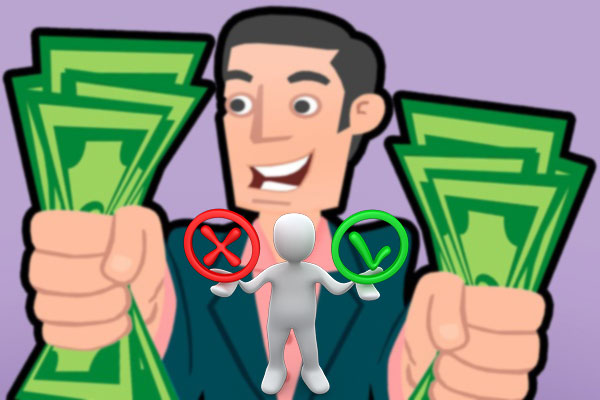 Человек с деньгами в руках, за и против