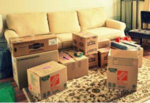 Вещи собраны в коробки