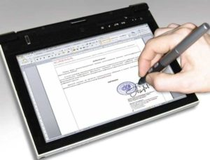 Подпись на планшете