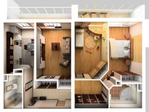 Комната до и после перепланировок